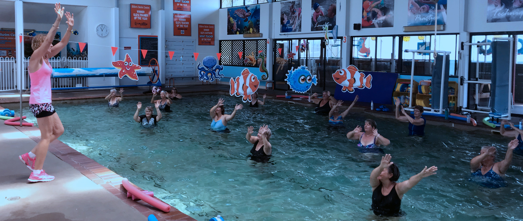 Underwater photo of aerobic exercise class doing their routines